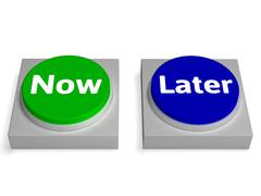 now later buttons shows urgency or delay - stock illustration