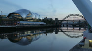 Stock Video Footage of the sage and tyne bridges at dusk, newcastle on tyne, england