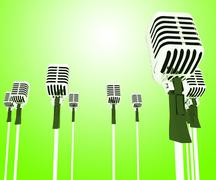 Microphones mics shows musical group or concert Stock Illustration