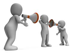 Stock Illustration of megaphone characters show attention explaining announce and bullying