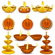 Stock Illustration of Collection of Diwali Decorated Diya