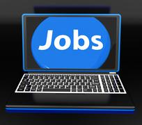 jobs on laptop shows unemployment jobless or hiring online - stock illustration