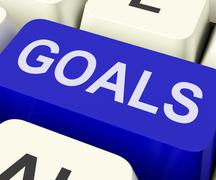 Goals key shows objectives aims or aspirations Stock Illustration