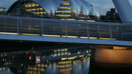 Stock Video Footage of gateshead millennium bridge and the sage at dusk, newcastle on tyne, england