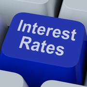Stock Illustration of interest rate key shows investment percent online