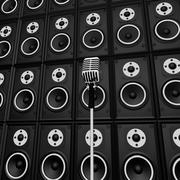 Stock Illustration of microphone and loud speakers shows music industry performing or entertaining