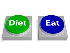 Eat diet buttons shows eating and dieting Stock Illustration