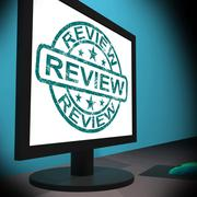 Review screen means examine reviewing or reassess Stock Illustration