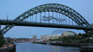Stock Video Footage of the tyne bridge and the sage at dusk, newcastle on tyne, england