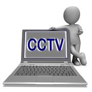 Stock Illustration of cctv laptop shows surveillance protection or monitoring online