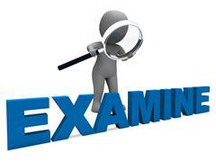 Examine character shows examination examining and scrutiny Stock Illustration