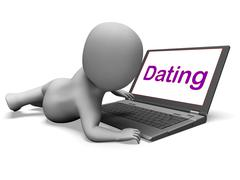 online dating character laptop shows romance and web love - stock illustration