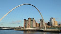 Gateshead millennium bridge and baltic mill art centre, newcastle, england Stock Footage