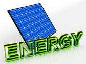 Stock Illustration of solar panel and energy word shows alternative energies