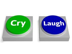 Cry laugh buttons shows crying or laughing Stock Illustration