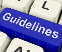 Guidelines key shows guidance rules or policy Stock Illustration
