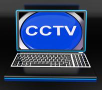 Cctv laptop monitor shows security protection or monitoring online Stock Illustration