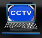 Stock Illustration of cctv laptop monitor shows security protection or monitoring online