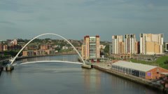 Newcastle upon tyne river skyline, england Stock Footage