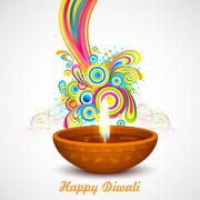 Colorful Diwali - stock illustration