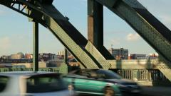 Traffic passing over the tyne bridge, newcastle, england Stock Footage