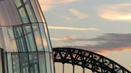 Stock Video Footage of the sage and tyne bridge at sunset, newcastle upon tyne, england