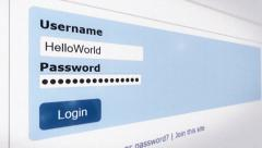 Login username password computer screen Stock Footage