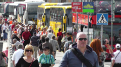 Stockholm Norrmalm 8 busy street Stock Footage