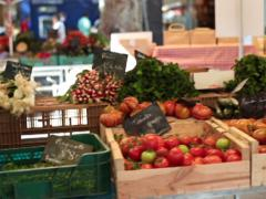 Walk through food, vegetable, fruit city market NTSC Stock Footage