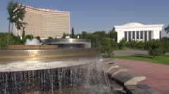 Old Soviet 'Hotel Uzbekistan' and new government building, Tashkent Stock Footage