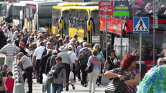 Stockholm Norrmalm 9 busy street Stock Footage