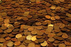 Pile of Canadian Pennies Stock Photos