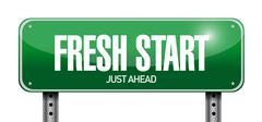 Stock Illustration of fresh start road sign illustration design