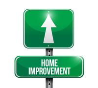 Home improvement road sign illustration Stock Illustration