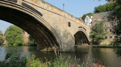 Framwellgate bridge and river wear, durham, england Stock Footage