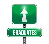 Graduates road sign illustration design Stock Illustration