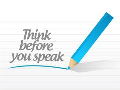 Stock Illustration of think before you speak written message