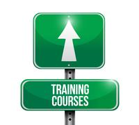 training courses road sign illustration design - stock illustration