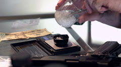 Weighing drugs on scale in lab Stock Footage