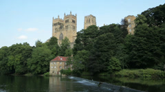 Durham castle and river wear, england Stock Footage