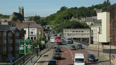 traffic, main road, durham city centre, england - stock footage