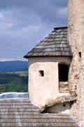 Corner tower of niedzica castle, poland Stock Photos