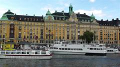 Stockholm Strandvagen 6 harbour Stock Footage