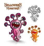 halloween monsters weird eyes squid  - stock illustration