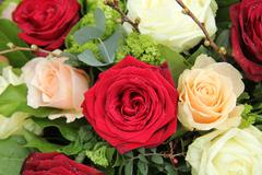 Bridal arrangement in pink, red and white Stock Photos