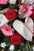 Anthurium, roses and gerberas in a bridal arrangement Stock Photos