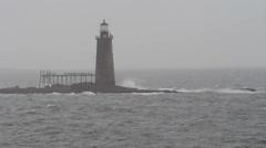 Ram Island Ledge Lighthouse off Portland, Maine Stock Footage