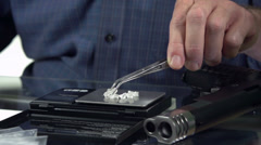 Illegal drugs being produced and tested in lab Stock Footage