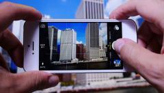 Tourist Takes Photo of NYC Skyline 3652 - stock footage