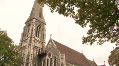 COPENHAGEN, DENMARK - St. Albans Church, Churchill Park, Copenhagen, Denmark - stock footage